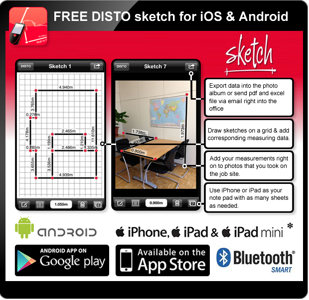 Leica DISTO D110 - Disto Sketch for iOS - Bluetooth Smart