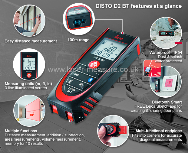 Leica Entfernungsmesser Disto D2 New Bluetooth : Leica disto d bt laser measure with bluetooth geosystems