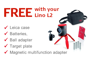 Free with your Lino L2 - Lino Pole - Leica case, batteries, adapter and target plate included