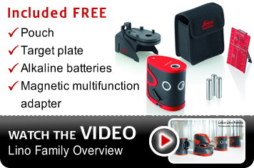 Free with your Lino P5 - Leica case, batteries, magnetic adapter and target plate included