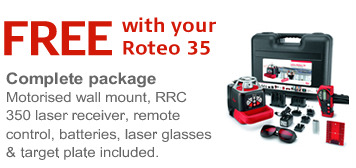 Free with your Roteo 35 - includes motorised wall mount RRC 350 laser receiver, remote control, batteries, laser glasses & target plate